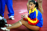 Catalina Ponor of Romania prepares during warmups before women's senior team final at 2006 European Championships Artistic Gymnastics at Volos, Greece on April 27, 2006.  Ponor announced afterward this would be the finish to her active gymnastic career. (Photo by Tom Theobald)<br />
