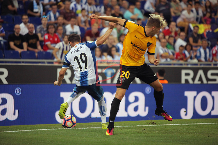 League Santander 2016/2017. Game: 2.<br /> RCD Espanyol vs Malaga CF: 2-2.<br /> Daniel Piatti vs Sergio Gontan.