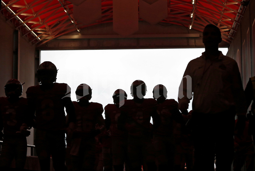 Ohio State Buckeyes come down the tunnel for warmups before their game against Northern Illinois Huskies at Ohio Stadium on September 19, 2015.  (Dispatch photo by Kyle Robertson)