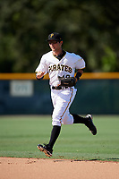 GCL Pirates center fielder Jack Herman (49) jogs back to the dugout during a game against the GCL Yankees West on August 2, 2018 at Pirate City Complex in Bradenton, Florida.  GCL Pirates defeated GCL Yankees West 6-2.  (Mike Janes/Four Seam Images)