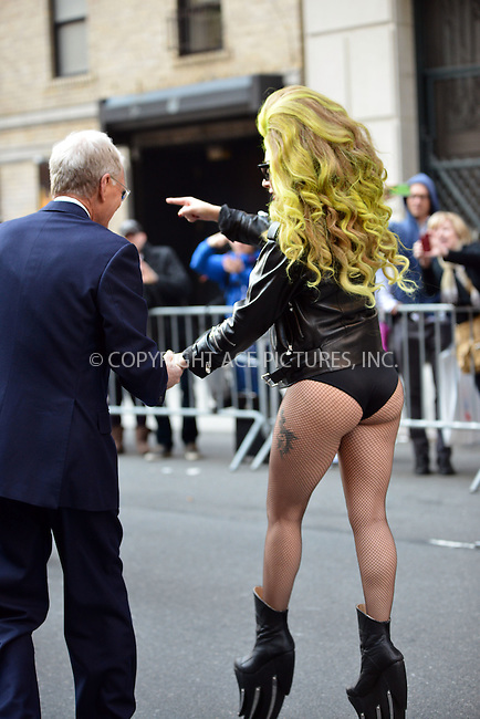WWW.ACEPIXS.COM<br /> <br /> April 2 2014, New York City<br /> <br /> Lady Gaga made an appearance at The Late Show on April 2 2014 in New York City<br /> <br /> By Line: Curtis Means/ACE Pictures<br /> <br /> <br /> ACE Pictures, Inc.<br /> tel: 646 769 0430<br /> Email: info@acepixs.com<br /> www.acepixs.com