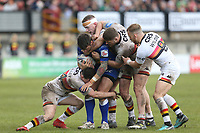 Leeds Rhinos' Tom Briscoe outnumbered by the Bradford Bulls defence <br /> <br /> Photographer Stephen White/CameraSport<br /> <br /> Rugby League - Coral Challenge Cup Sixth Round - Bradford Bulls v Leeds Rhinos - Saturday 11th May 2019 - Provident Stadium - Bradford<br /> <br /> World Copyright &copy; 2019 CameraSport. All rights reserved. 43 Linden Ave. Countesthorpe. Leicester. England. LE8 5PG - Tel: +44 (0 116 277 4147 - admin@camerasport.com - www.camerasport.com