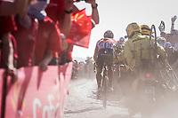 Jurgen Roelandts (BEL/Lotto-Soudal) over teh worst cobbles of the day at the Carrefour de l'Arbre sector<br /> <br /> 115th Paris-Roubaix 2017 (1.UWT)<br /> One Day Race: Compiègne › Roubaix (257km)