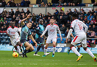 Action during the Sky Bet League 2 match between Wycombe Wanderers and Crawley Town at Adams Park, High Wycombe, England on 25 February 2017. Photo by Andy Rowland / PRiME Media Images.