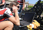 November 13 2011 - Guadalajara, Mexico: Lyne Bessette takes a call from back home after winning a gold medal at the 2011 Parapan American Games in Guadalajara, Mexico.  Photos: Matthew Murnaghan/Canadian Paralympic Committee