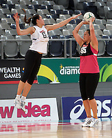 15.09.2012 Silver Ferns Cathrine Latu in action at training at the Hisense Arena In Melbourne ahead of the first netball test match between the Silver Ferns and Australia. Mandatory Photo Credit ©Michael Bradley.