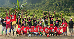 """Soccer teams show off uniforms presented by RARE Conservation. The shirts read: """"If fish are finished, what will we eat?"""""""