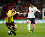 Son Heung-Min of Tottenham takes on Craig Cathcart of Watford during the premier league match at Wembley Stadium, London. Picture date 30th April 2018. Picture credit should read: David Klein/Sportimage
