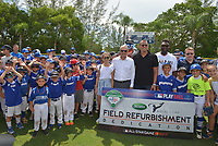 MIAMI, FL - JULY 11: Ella Alexander, MLB Commissioner Rob Manfred, Alex Rodriguez (A-Rod), Charles Johnson,VP and GM with Scotts Josh Peoples and President and CEO of Boys & Girls Clubs of America Jim Clark attend the All-Star Week Legacy Project with A-Rod & Giancarlo Stanton at Boys & Girls Clubs of Miami-Dade on July 11, 2017 in Miami, Florida. Credit: MPI10 / MediaPunch