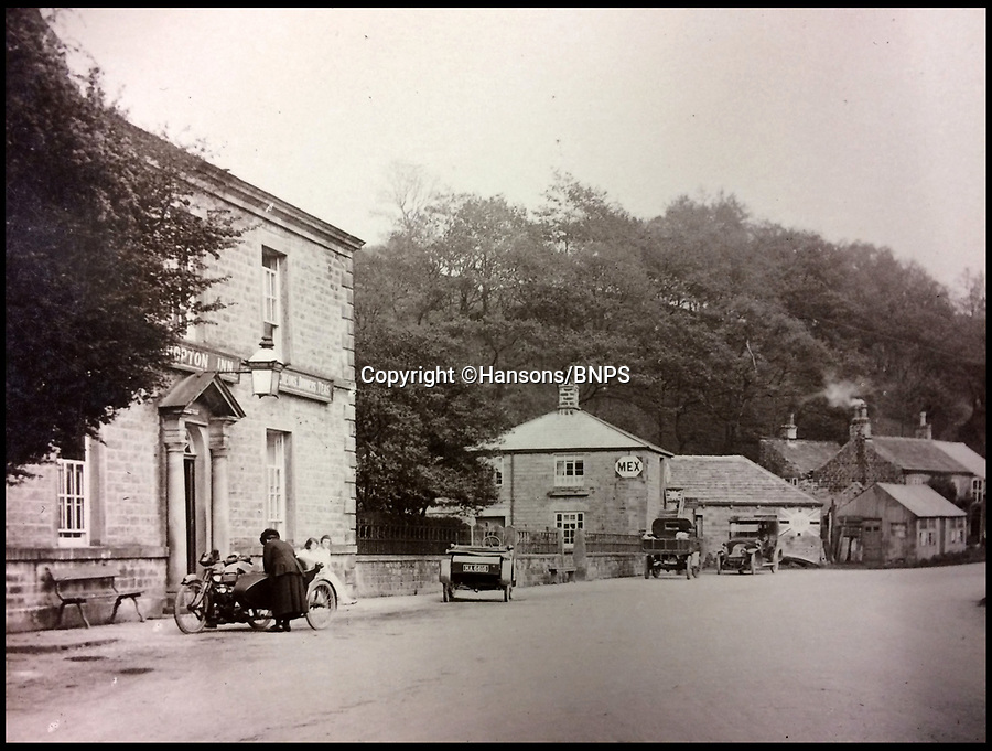 BNPS.co.uk (01202 558833)<br /> Pic: Hansons/BNPS<br /> <br /> The Ashopton Inn.<br /> <br /> Lost World - Haunting picture album reveals the lost villages of Ashopton and Derwent in Derbyshire.<br /> <br /> A set of remarkable photos of a 'drowned' British village which has been under water for the past 74 years has come to light.<br /> <br /> The lost village of Ashopton was once an idyllic rural retreat in north Derbyshire but it was demolished in 1943 to make way for a large reservoir.<br /> <br /> The photo album reveals what the quaint village, which had a population of about 100 people, looked like in the late 19th and early 20th century before it became the Derbyshire Atlantis. <br /> <br /> It boasted a 17th century hall, a Victorian steepled church, a toll cottage, a Georgian coaching inn and dozens of cottages.