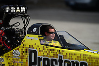 Sept. 30, 2012; Madison, IL, USA: NHRA top fuel dragster driver Spencer Massey during the Midwest Nationals at Gateway Motorsports Park. Mandatory Credit: Mark J. Rebilas-