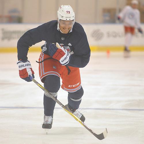 K'Andre Miller #79 skates during New York Rangers Prospect Camp at Madison Square Garden Training Center in Greenburgh, NY on Tuesday, June 26, 2018.