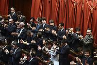 Roma, 15 Marzo 2013.Montecitorio, Camera dei Deputati.Primo giorno in Aula della XVII Legislatura del Parlamento italiano.Il settore dei deputati del Movimento 5 Stelle
