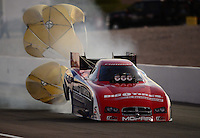 Oct. 27, 2012; Las Vegas, NV, USA: NHRA funny car driver Johnny Gray during qualifying for the Big O Tires Nationals at The Strip in Las Vegas. Mandatory Credit: Mark J. Rebilas-