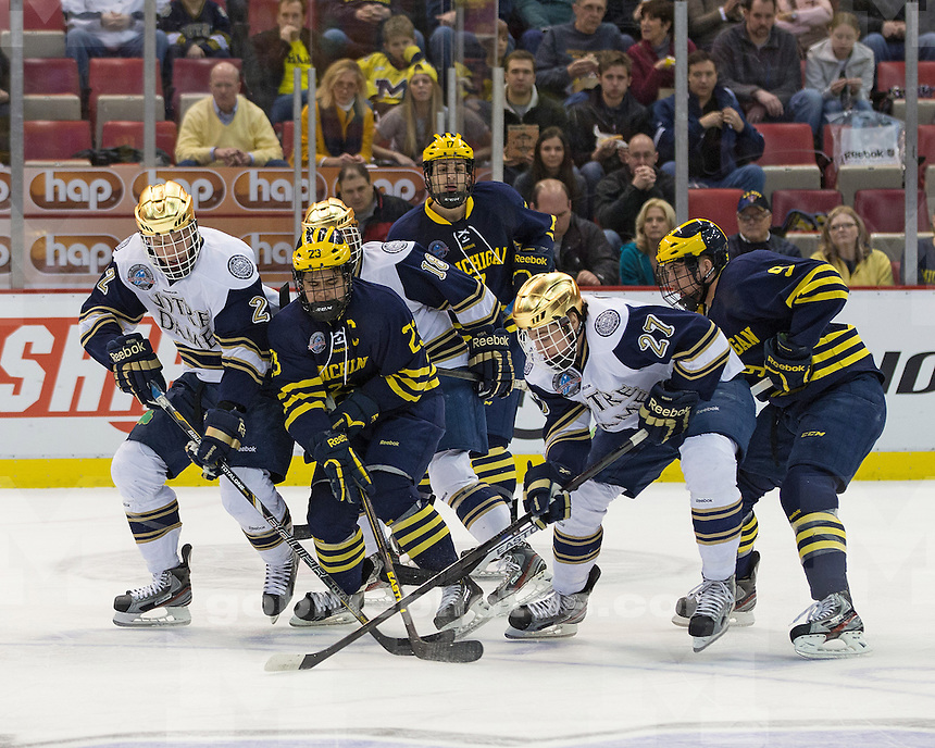 The University of Michigan ice hockey team lost to No. 9 Notre Dame, 6-2, in the final CCHA Championship game at Joe Louis Arena in Detroit, Mich., on March 24, 2013.