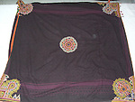 RARE ANTIQUE SQUARE SHAPE LUDHI VEIL MIRROR EMBROIDERY. THESE HEADDESS OF THE RABARI TRIBE ARE USUALLY RECTANGULAR IN SHAPE. THIS SQUARE PIECE IS A SPECIAL CEREMONIAL PIECE AND IS VERY RARELY AVAILABLE