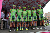 TUNJA - COLOMBIA- 21- 02-2016: Equipo Boyaca Raza de Campeones conformado por Diego German Mancipe, Diego Antonio Ochoa, Heiner Rodrigo Parra, Ivan Dario Bothia, Javier Eduardo Gomez y Nestor Javier Garcia durante su presentación previo a la prueba ruta individual categoría elite hombres entre las ciudades de Sogamoso y Tunja en una distancia 174,6 km kilometros de Los Campeonato Nacionales de Ciclismo 2016, que se realizan en Boyaca. / Boyaca Raza de Campeones team formed by Diego German Mancipe, Diego Antonio Ochoa, Heiner Rodrigo Parra, Ivan Dario Bothia, Javier Eduardo Gomez and Nestor Javier Garcia during their presentation prior the Elite test individual route men between the towns of Sogamoso and Tunja at a distance of 174,6 km of the National Cycling Championships 2016 performed in Boyaca. / Photo: VizzorImage / Cesar Melgarejo / Cont.