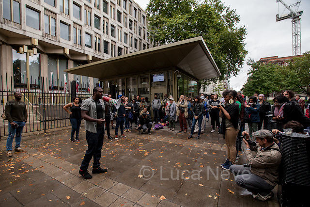 London, 17/08/2014. Today, &quot;London Black Revs&quot; held a demonstration outside the US Embassy in support and solidarity with Michael Brown and the people of Ferguson, Missouri. From the organisers online press release: &lt;&lt;On Saturday 9th August 2014 Unarmed Black Man Michael Brown was shot 8 times until he died, by a police officer in Ferguson, Missouri. Since the Murder Michael Brown has been portrayed like a thug by the Mainstream Media and Ferguson PD have violently suppressed all protests, supported by some sections of the media who have branded protests &quot;Riots&quot; and labelled protesters &quot;looters&quot;. London Black Revs are calling a Solidarity Vigil outside the U.S. Embassy to call for the US to stop violently oppressing, Black People and Black Protests. We stand with the family of murdered Michael Brown, and the people of Ferguson, Missouri in their fight for Truth, Justice and Peace I their community&gt;&gt;. Speakers included, amongst others, Carol Duggan (Mark Duggan's aunt) from the Justice for Mark Duggan Campaign and from the United Families and Friends Campaign, UFFC.<br />