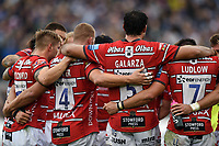 Gloucester Rugby players huddle together. Gallagher Premiership match, between Bath Rugby and Gloucester Rugby on September 8, 2018 at the Recreation Ground in Bath, England. Photo by: Patrick Khachfe / Onside Images