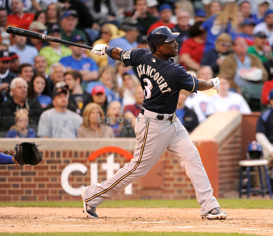 YUNIESKY BETANCOURT, of the Milwaukee Brewers, in action during the Brewers game against the Chicago Cubs on June 13, 2011 at Wrigley Field in Chicago, Illinois. The Cubs beat the Brewers 1-0.