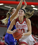 VERMILLION, SD: JANUARY 13:  Allison Arens #10 of South Dakota drives past Hannah Albrecht #10 of Ft. Wayne during their Summit League game Saturday January 13 at the Sanford Coyote Sports Center in Vermillion, S.D.   (Photo by Dick Carlson/Inertia)