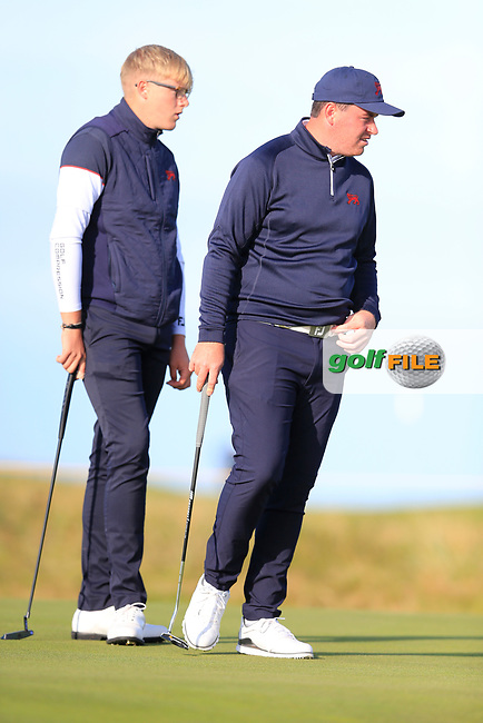 Thomas Sloman (GB&I) and Thomas Plumb  (GB&I) on the 3rd green during the final day foursomes matches at the Walker Cup, Royal Liverpool Golf Club, Hoylake, Cheshire, England. 08/09/2019.<br /> Picture Fran Caffrey / Golffile.ie<br /> <br /> All photo usage must carry mandatory copyright credit (© Golffile | Fran Caffrey)
