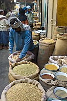 Stallholder with coriander seeds and dried mango skins on sale at Khari Baoli spice and dried foods market, Old Delhi, India.