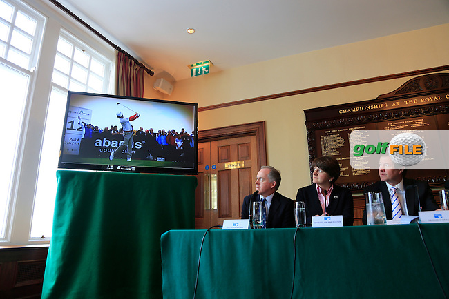 Dr Peter Brown Captain, Arleen Foster Enterprise, Trade and Investment Minister, European Tour CEO George O'Grady, at the Irish Open 2015 announcement, Royal County Down Golf Club, Newcastle, Down,Ireland.<br /> Picture: Fran Caffrey www.golffile.ie
