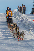 Linwood Fiedler on Cordova St. hill during the Anchorage start day of Iditarod 2018 on Cordova St. hill during the Anchorage start day of Iditarod 2019