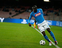 Kalidou Koulibaly during the Champions League Group  soccer match between SSC Napoli and   Dinamo Kiev  at the San Paolo  Stadium inNaples November 24, 2016