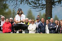 Tommy Fleetwood (ENG) lines up his putt on the 1st hole during final round at the Omega European Masters, Golf Club Crans-sur-Sierre, Crans-Montana, Valais, Switzerland. 01/09/19.<br /> Picture Stefano DiMaria / Golffile.ie<br /> <br /> All photo usage must carry mandatory copyright credit (© Golffile | Stefano DiMaria)