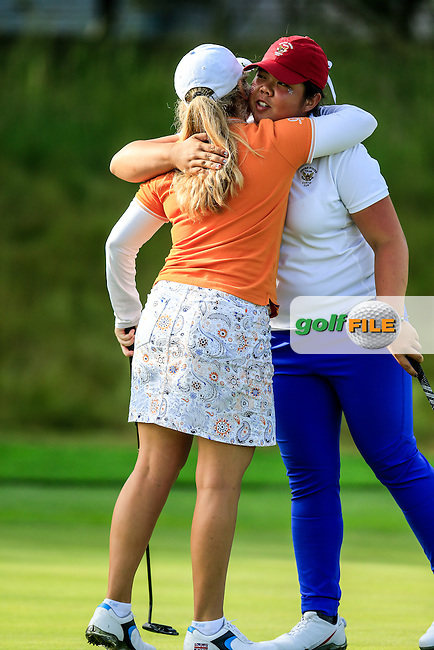 Bronte Law during the Saturday afternoon fourballs at the 2016 Curtis cup from Dun Laoghaire Golf Club, Ballyman Rd, Enniskerry, Co. Wicklow, Ireland. 11/06/2016.<br /> Picture Fran Caffrey / Golffile.ie<br /> <br /> All photo usage must carry mandatory copyright credit (&copy; Golffile | Fran Caffrey)