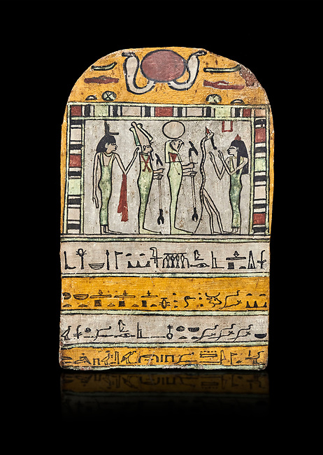 "Ancient Egyptian stele dedicated to Osiris by Neskhonsu,  Late Period, 25th Dynasty, (722-664 BC), Thebes, Cat 1596. Egyptian Museum, Turin. black background,<br /> <br /> The round topped stele dedicated by Osiris to Neskhonsu, daaughter of Nespernebu, ""gogs father"" of Amon. Gifted by the Cairo Museum"