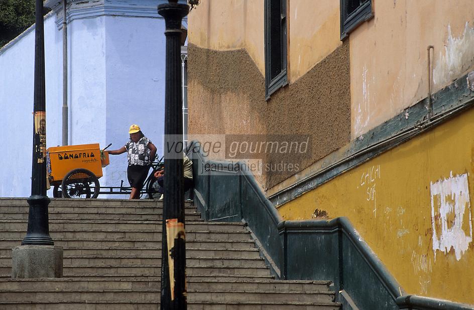 Amérique/Amérique du Sud/Pérou/Lima/Quartier de Barranco : Escaliers dans les rues