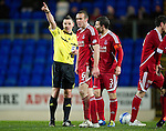 St Johnstone v Aberdeen...13.12.11   SPL .Andrew Considine is sent off by ref Steven Mclean.Picture by Graeme Hart..Copyright Perthshire Picture Agency.Tel: 01738 623350  Mobile: 07990 594431