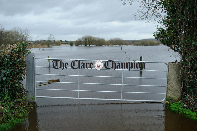 The water rises at Springfield Clonlara as residents prepare for flooding due to water being released at the Parteen Weir. Photograph by John Kelly.