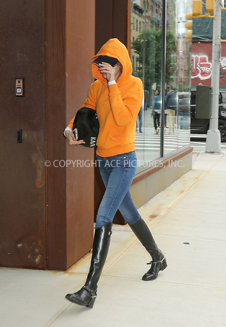 www.acepixs.com<br /> <br /> May 30 2017, New York City<br /> <br /> Model Gigi Hadid covers her face as she arrives at her East Village apartment on May 30 2017 in New York City<br /> <br /> By Line: Philip Vaughan/ACE Pictures<br /> <br /> <br /> ACE Pictures Inc<br /> Tel: 6467670430<br /> Email: info@acepixs.com<br /> www.acepixs.com
