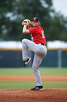 Brevard County Manatees starting pitcher Phil Bickford (17) delivers a warmup pitch during a game against the Lakeland Flying Tigers on August 8, 2016 at Henley Field in Lakeland, Florida.  Lakeland defeated Brevard County 6-2.  (Mike Janes/Four Seam Images)