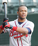 Outfielder L.V. Ware (7) of the Rome Braves, Class A affiliate of the Atlanta Braves, in a game against the Greenville Drive April 14, 2010, at Fluor Field at the West End in Greenville, S.C. Photo by: Tom Priddy/Four Seam Images