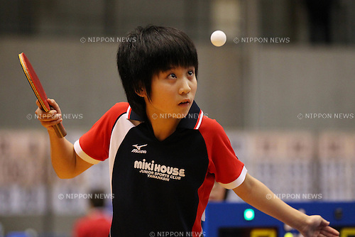 Miu Hirano, .JANUARY 19, 2012 - Table Tennis : .All Japan Table Tennis Championships .Women's Junior Singles .at Tokyo Metropolitan Gymnasium, Tokyo, Japan. .(Photo by YUTAKA/AFLO SPORT) [1040]