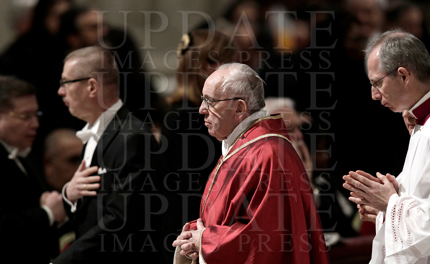 Pope Francis celebrates the Good Friday Passion of Christ Mass inside St. Peter's Basilica, at the Vatican, Friday, March 30, 2018. <br /> UPDATE IMAGES PRESS/Isabella Bonotto<br /> <br /> STRICTLY ONLY FOR EDITORIAL USE
