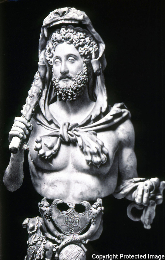 Greek Art:  Bust of Commodus, Emperor 180-193.  Rome.  In his favorite role of Hercules, holding the club and the apples of the Herperides, Mantle of Lion.
