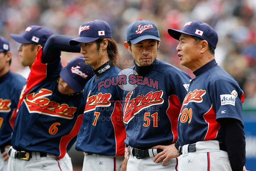 Ichiro Suzuki and Sadaharu Oh of Japan during World Baseball Championship at Angel Stadium in Anaheim,California on March 12, 2006. Photo by Larry Goren/Four Seam Images
