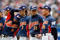 Ichiro Suzuki and Sadaharu Oh of Japan during World Baseball Championship at Angel Stadium in Anaheim,California on March 12, 2006. Photo by Larry Goren/Four Seam Images
