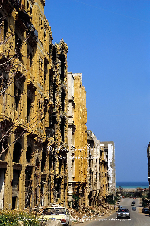 Destroyed buildings after the Civil War in Beirut, Lebanon.