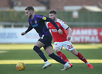 Luton Town's Andrew Shinnie in action with Fleetwood Town's James Husband<br /> <br /> Photographer Mick Walker/CameraSport<br /> <br /> The EFL Sky Bet League One - Fleetwood Town v Luton Town - Saturday 16th February 2019 - Highbury Stadium - Fleetwood<br /> <br /> World Copyright © 2019 CameraSport. All rights reserved. 43 Linden Ave. Countesthorpe. Leicester. England. LE8 5PG - Tel: +44 (0) 116 277 4147 - admin@camerasport.com - www.camerasport.com