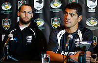 PICTURE BY SIMON WATTS/photosport.co.nz - Rugby League - Anzac Test - New Zealand and Australia Press Conference - Eden Park, Auckland, New Zealand - 19/04/12 - Kiwis coach Stephen Kearney and player Simon Mannering - Copyright - Photosport NZ/SWpix.com...