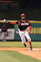 Batavia Muckdogs shortstop Javier Lopez (22) attempts to turn a double play during a game against the Tri-City ValleyCats on August 2, 2014 at Joseph L. Bruno Stadium in Troy, New York.  Tri-City defeated Batavia 8-4.  (Mike Janes/Four Seam Images)