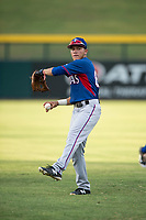 AZL Rangers infielder Frainyer Chavez (60) warms up before an Arizona League game against the AZL Cubs 2 at Sloan Park on July 7, 2018 in Mesa, Arizona. AZL Rangers defeated AZL Cubs 2 11-2. (Zachary Lucy/Four Seam Images)