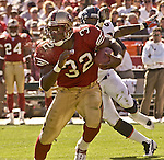 San Francisco 49ers running back Kevan Barlow (32) finds an open spot to run on Sunday, September 15, 2002, in San Francisco, California. The Broncos defeated the 49ers 24-14. .